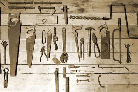 hand tools  workshop wall stock photo colourbox