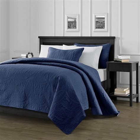 Navy Blue Coverlet by Pinsonic Quilted Oversize Bedspread Coverlet 3