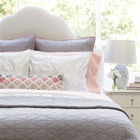 the box stitch light grey quilt sham crane