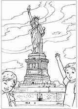 Liberty Statue Coloring Pages States United Colouring Around sketch template