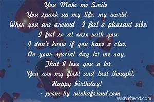 You Make me Smile, Girlfriend Birthday Poem