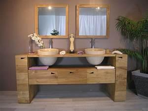 Meuble Double Vasque Salle De Bain : meuble double vasque teck meuble suspendu en teck massif ~ Edinachiropracticcenter.com Idées de Décoration