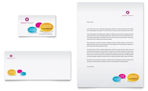 speech therapy education business card letterhead