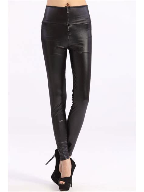 High Waist Faux Leather vogue black high waist faux leather zip e79289
