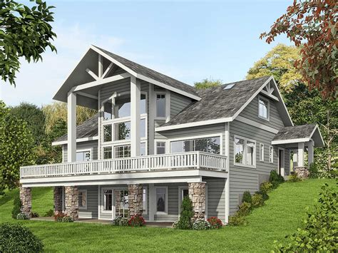 Mountain House Plan With Dramatic Window Wall 35516gh