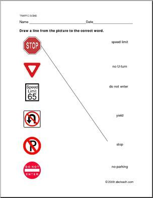 Worksheet Traffic Regulatory Signs Matching Abcteach