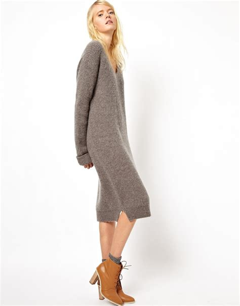 gray sweater dress lyst asos asos white midi sweater dress with vneck in gray