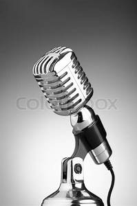 Vintage microphone against the background | Stock Photo ...
