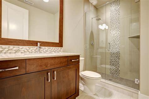 Glass Walkin Shower In A Bathroom Of Brandnew Home Stock