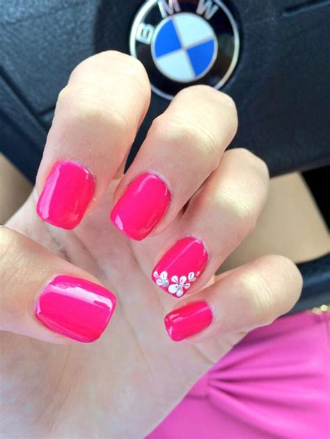 simple pink spring acrylic nails   flower design