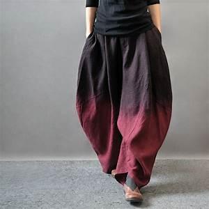 Asymmetric Pants Gradient Color Wide Leg Slacks Cotton Linen Loose Pants Harem Pants Women ...