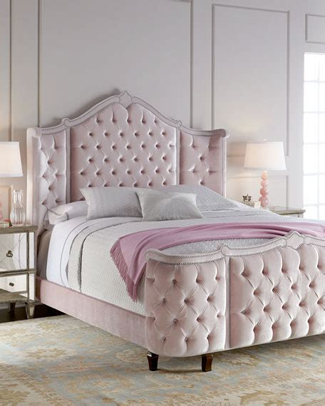 silver and pink bedroom haute house pippa tufted beds 17060