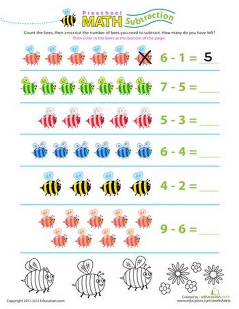 Preschool Math Take Away The Bees Worksheets