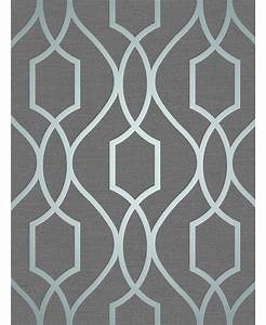 Apex Geometric Trellis Wallpaper Slate Grey and Blue Fine ...