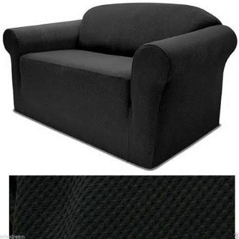 Black Loveseat Cover by Stretch Form Fit 3 Pcs Slipcovers Set Sofa