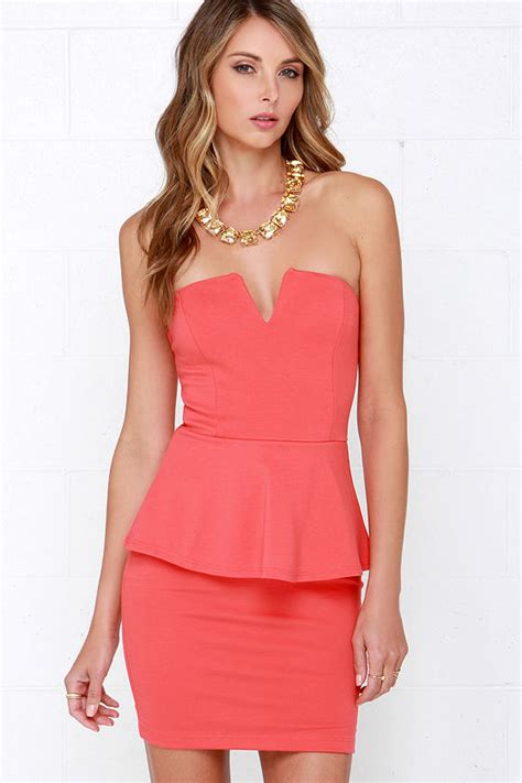 Restock Miyake Dress Salt chic coral peplum dress strapless dress bodycon dress