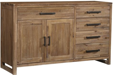 Five Drawer Two Door Modern Dining Buffet With Bar Pull