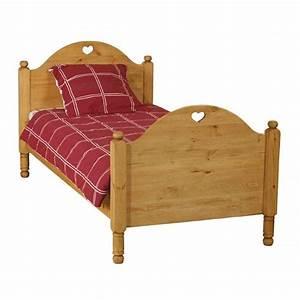Lit 90 X 190 : lit enfant rustique en pin avec coeur 90 x 190 cm achat vente lit complet lit enfant ~ Teatrodelosmanantiales.com Idées de Décoration