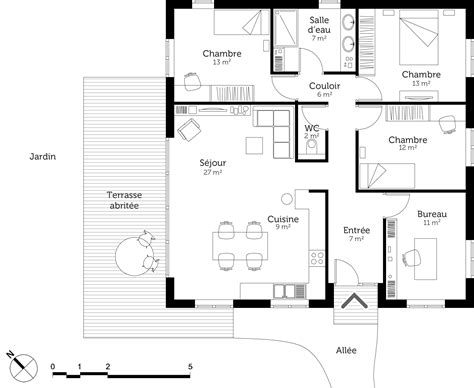 plan maison 3 chambre plan maison moderne avec 3 chambres ooreka