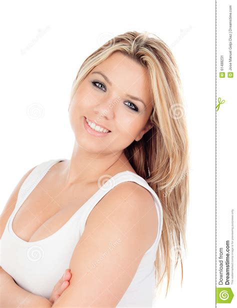 Cute Blonde Girl With Blue Eyes Looking At Camera Stock Image Image Of Blond Fashionable