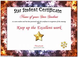 star student certificate With star of the month certificate template