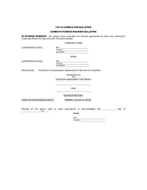 sle copy escrow agreement free