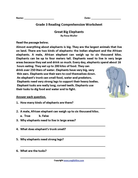 Reading Comprehension Worksheets About Animals  Worksheet Example