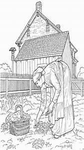 Frau Sammelt Ernte Ausmalbild Malvorlage Bauernhof