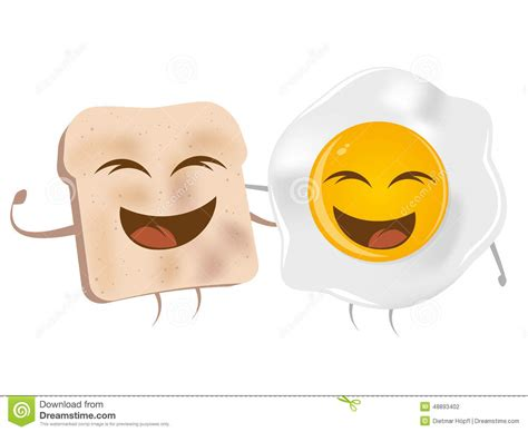 Cartoon Toast And Fried Egg Stock Vector