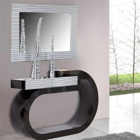 image cuisine moderne console design moderne laquée bicolore noir et argent 1 tiroir