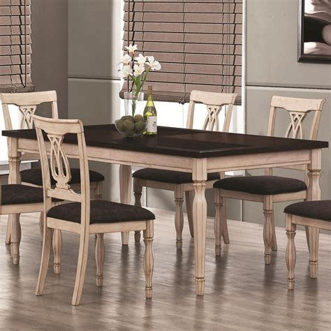 camille antique white and merlot dining table