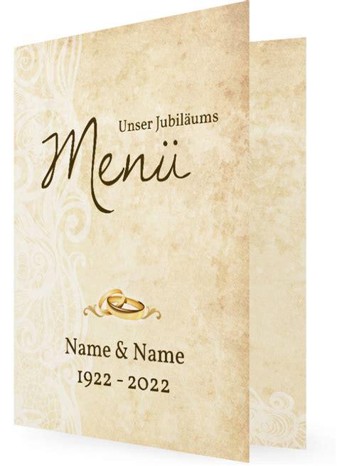 hochzeitsjubilaeum menuekarten vorlagen familieneinladungende