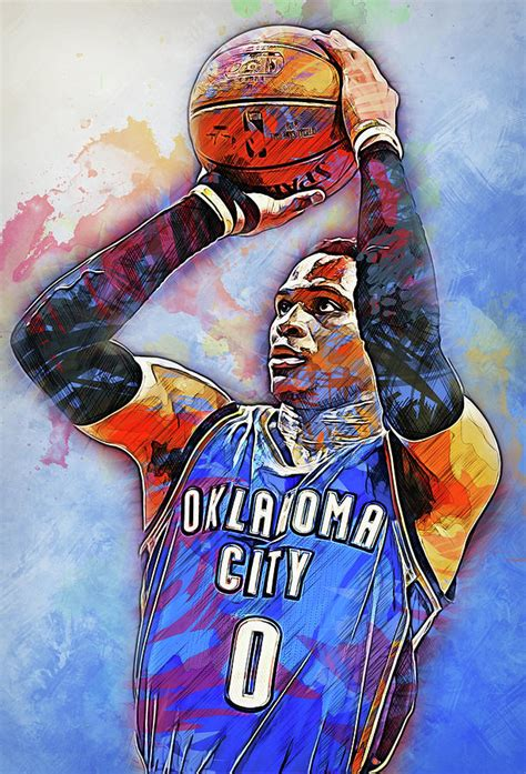 Russell Westbrook 09 Painting By Andrea Mazzocchetti