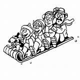Coloring Pages Winter Sledding Sports Printable Toboggan Playing Fun Kookerkids Template Credit Larger sketch template