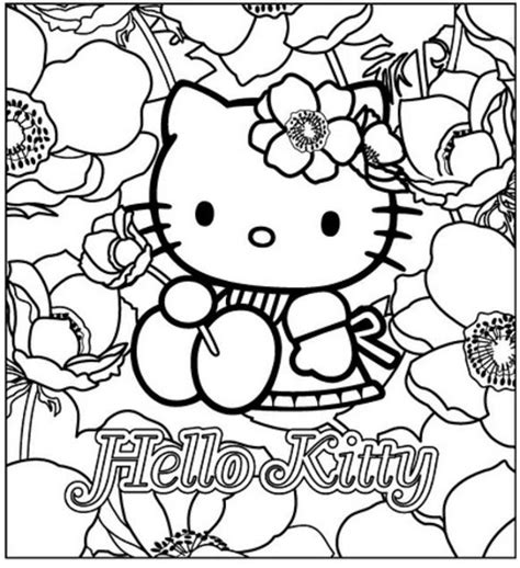 Hello Kitty With Flowers Free Coloring Pages Coloring