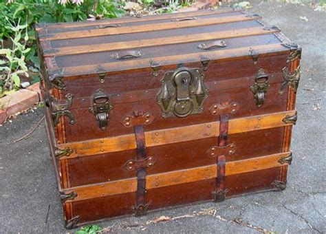 Antique Steamer Trunk Chest Flat Top With Original Working Key Wood Slats Stenciling Unrestored Antique House Number Princess Cut Ring Cast Iron Wall Candle Holders Wood Settee Table Legs Uk Wingback Chair Value Gold Outlet Covers Doors Dallas