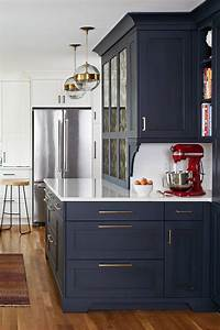 Blue, Kitchen, Cabinets, With, White, Countertops, Design, Ideas