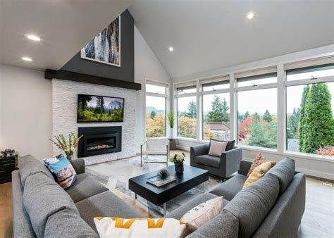 Gray Contemporary Living Room With Vaulted Ceiling Engineered Wood Flooring Manufacturers Uk Laminate Suppliers George Installing Slate Hardwood Floor Nailer Manual Or Pneumatic Lumber Liquidators Tainted Carpet In Living Room First Options Vinyl For Dogs