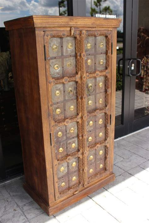 indian antique hand carved wooden cabinet  front