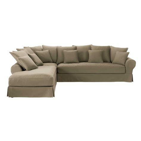 canapé d angle taupe canapé d 39 angle gauche 6 places en coton taupe bastide