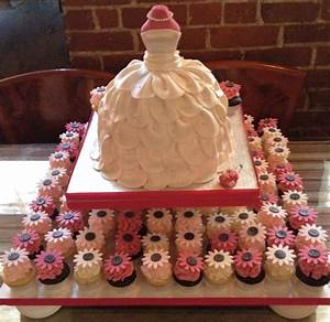 bridal shower wedding dress cake with cupcakes With wedding bridal shower