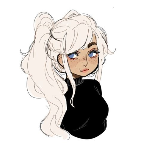 girl  white hair drawing cute   drawings