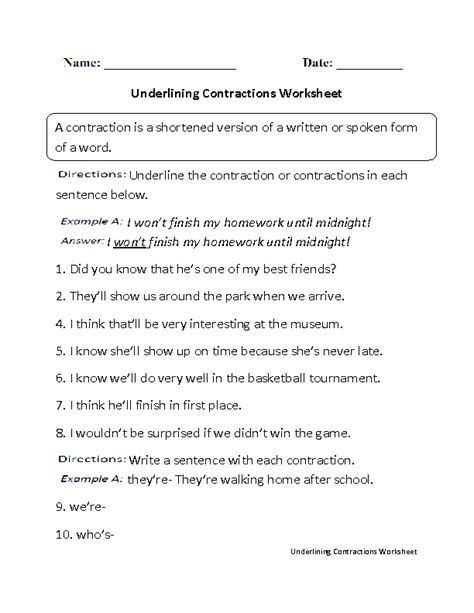 16 Best Images Of English Contractions Worksheets  Contractions Worksheet 3rd Grade, Prefix