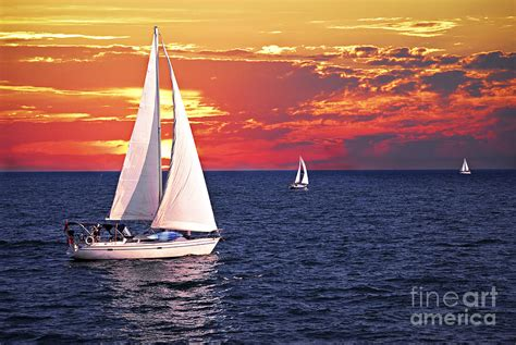 Sail Boat Images by Sailboats At Sunset Photograph By Elisseeva