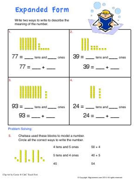 expanded form second grade math worksheets biglearners