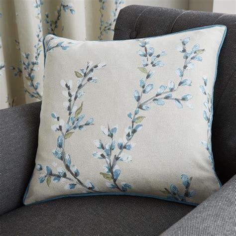 hemsworth floral cushion cover duck egg blue