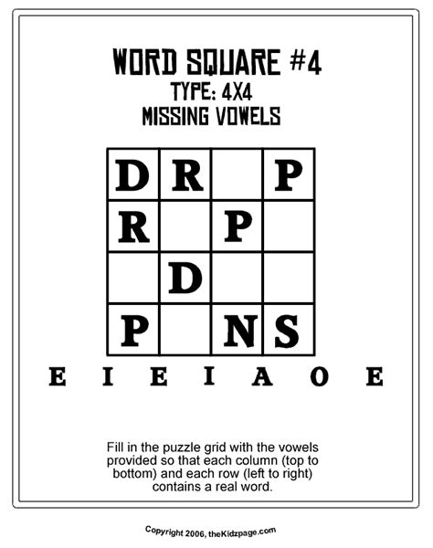 word square 4 free printable learning activities for