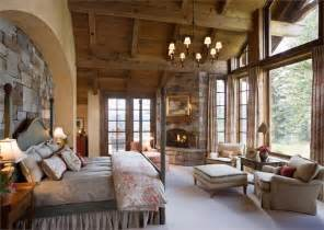 Stunning Country Bedroom Photos by Rustic Master Retreat With Fireplace And A Lot Of Windows