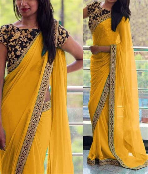 plain saree with designer blouse sparkling fashion plain sarees with designer custom made