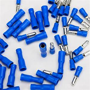 100pcs Male Female Bullet Connectors Blue Insulated Wire Crimp Terminals For Electrical Wiring